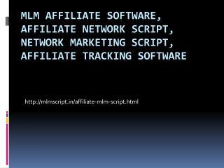 MLM Affiliate Software, Affiliate Network Script
