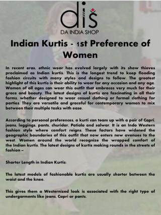 Indian Kurtis - 1st Preference of Women