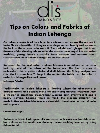 Tips on Colors and Fabrics of Indian Lehenga