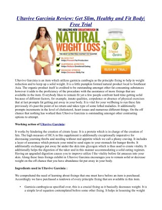Ultavive Garcinia Review: Get Slim, Healthy and Fit Body| Free Trial