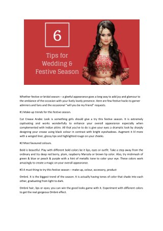 Wedding & festive season tips