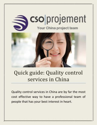 Quick guide: Quality Control Services in China