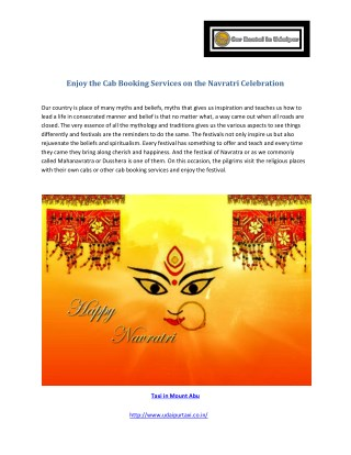 Enjoy the Cab Booking Services on the Navratri Celebration
