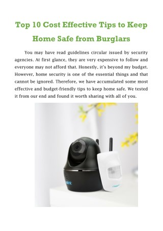 Top 10 Cost Effective Tips to Keep Home Safe from Burglars