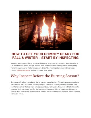 HOW TO GET YOUR CHIMNEY READY FOR FALL & WINTER – START BY INSPECTING