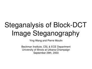 Steganalysis of Block-DCT Image Steganography