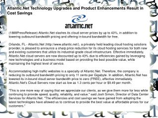 Atlantic.Net Technology Upgrades and Product Enhancements Re