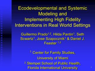 Ecodevelopmental and Systemic Modeling and  Implementing High Fidelity Interventions in Real World Settings
