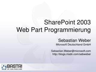 SharePoint 2003 Web Part Programmierung