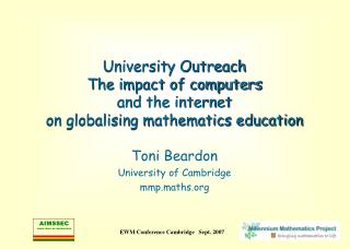 University Outreach  The impact of computers  and the internet  on globalising mathematics education