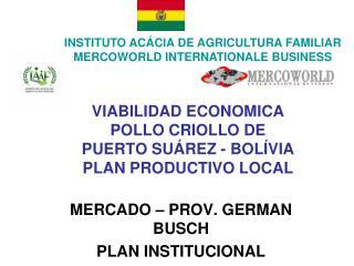 VIABILIDAD ECONOMICA POLLO CRIOLLO DE PUERTO SU REZ - BOL VIA PLAN PRODUCTIVO LOCAL