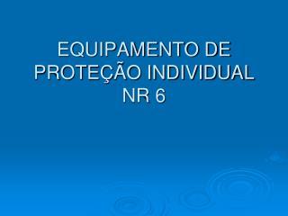 EQUIPAMENTO DE PROTE  O INDIVIDUAL NR 6