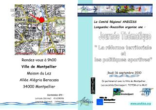 Le Comit  R gional ANDIISS Languedoc-Roussillon organise une :