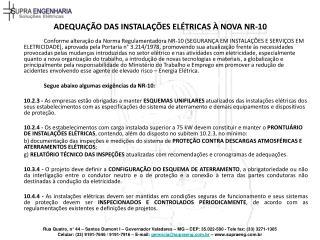 ADEQUA  O DAS INSTALA  ES EL TRICAS   NOVA NR-10