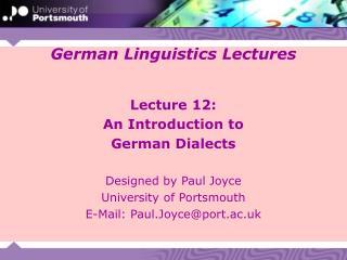 German Linguistics Lectures