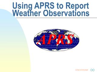 Using APRS to Report  Weather Observations