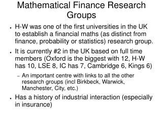 Mathematical Finance Research Groups