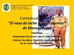 Contextualizaci n de   El vaso de leche y otros cuentos  de Manuel Rojas