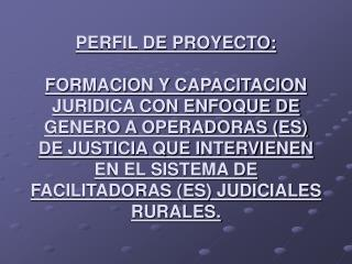 PERFIL DE PROYECTO:   FORMACION Y CAPACITACION JURIDICA CON ENFOQUE DE GENERO A OPERADORAS ES DE JUSTICIA QUE INTERVIENE