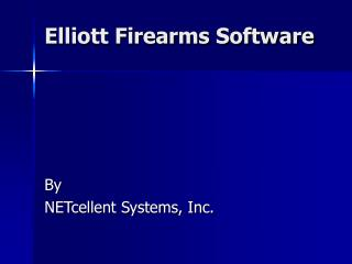 Elliott Firearms Distribution Software