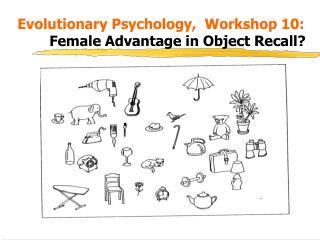 Evolutionary Psychology,  Workshop 10:      Female Advantage in Object Recall