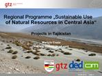 Regional Programme  Sustainable Use of Natural Resources in Central Asia    Projects in Tajikistan
