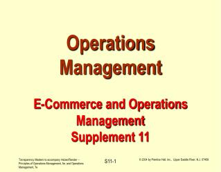 Operations Management  E-Commerce and Operations Management Supplement 11