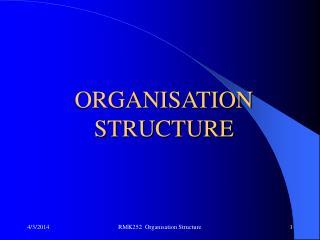 RMK252  Organisation Structure