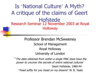 Is  National Culture  A Myth A critique of the claims of Geert Hofstede