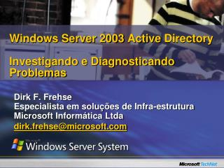 Windows Server 2003 Active Directory  Investigando e Diagnosticando Problemas