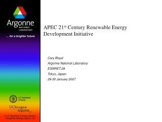 APEC 21st Century Renewable Energy Development Initiative