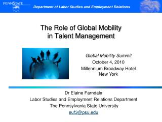The Role of Global Mobility  in Talent Management