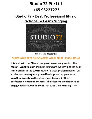 Enhance your Vocal Skills with Studio 72 Professional Music School