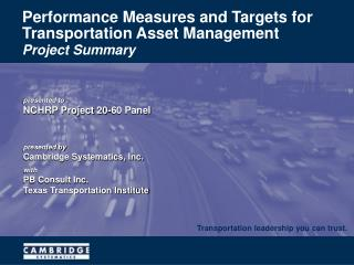 Performance Measures and Targets for Transportation Asset Management