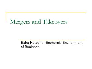 Mergers and Takeovers