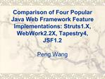 Comparison of Four Popular Java Web Framework Feature Implementations: Struts1.X, WebWork2.2X, Tapestry4, JSF1.2  Peng W