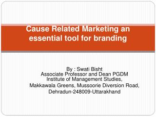 Cause Related Marketing an essential tool for branding
