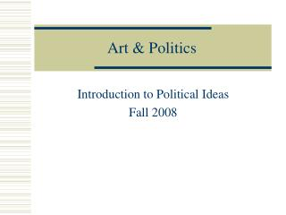 Art  Politics