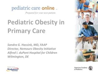 Pediatric Obesity in Primary Care   Sandra G. Hassink, MD, FAAP Director, Nemours Obesity Initiative  Alfred I. duPont H