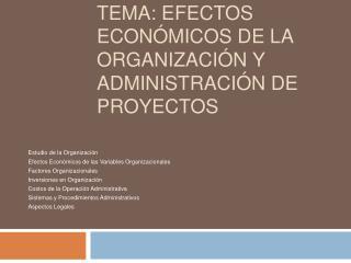 Tema: Efectos Econ micos de la Organizaci n y Administraci n de Proyectos