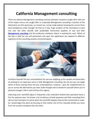 California Management consulting