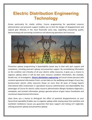Electric Distribution Engineering Technology