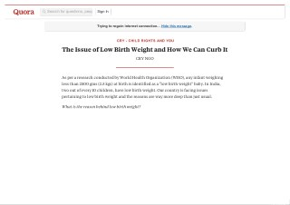 The Issue of Low Birth Weight and How We Can Curb It
