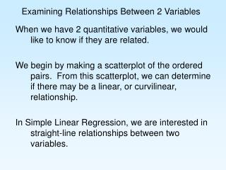 Examining Relationships Between 2 Variables