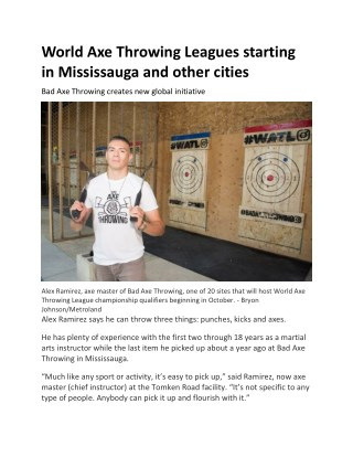 World Axe Throwing Leagues starting in Mississauga and other cities
