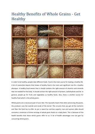 Healthy Benefits of Whole Grains - Get Healthy