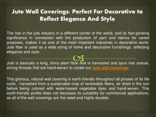 Jute Wall Coverings: Perfect For Decorative to Reflect Elegance And Style