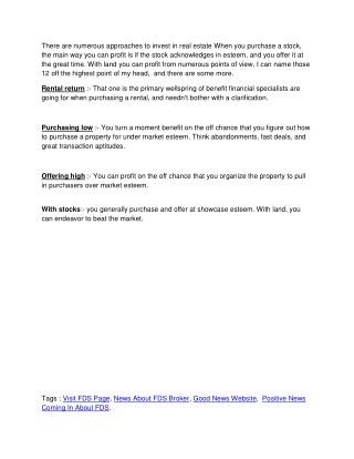 FDS broker services