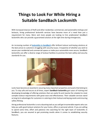 Things to Look For While Hiring a Suitable SandBach Locksmith