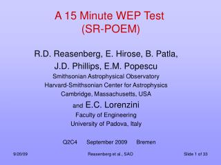 A 15 Minute WEP Test  SR-POEM